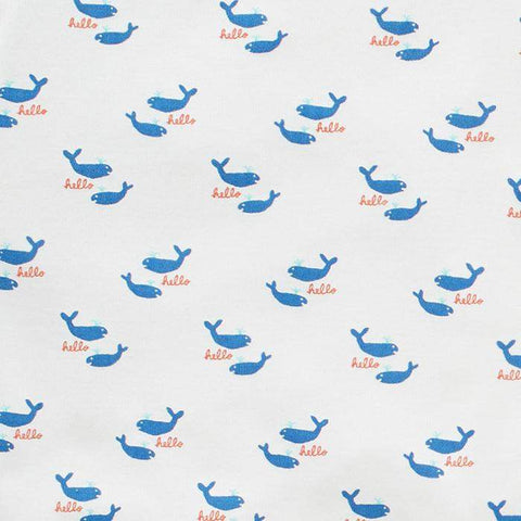 changing pad cover - printed-White/Whales-Oeuf LLC