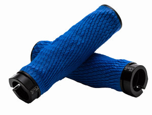 PRO Imprint Grips - Custom Mouldable Lock-On Bike Grips - Blue Rubber   Black Metal