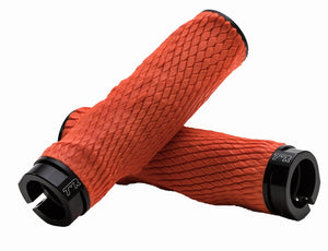 PRO Imprint Grips - Custom Mouldable Lock-On Bike Grips - Orange Rubber   Black Metal