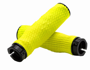 PRO Imprint Grips - Custom Mouldable Lock-On Bike Grips - Neon Yellow Rubber   Black Metal