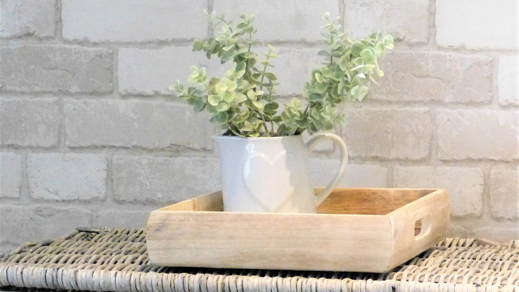nordic style wooden tray white ceramic jug with faux eucalyptus