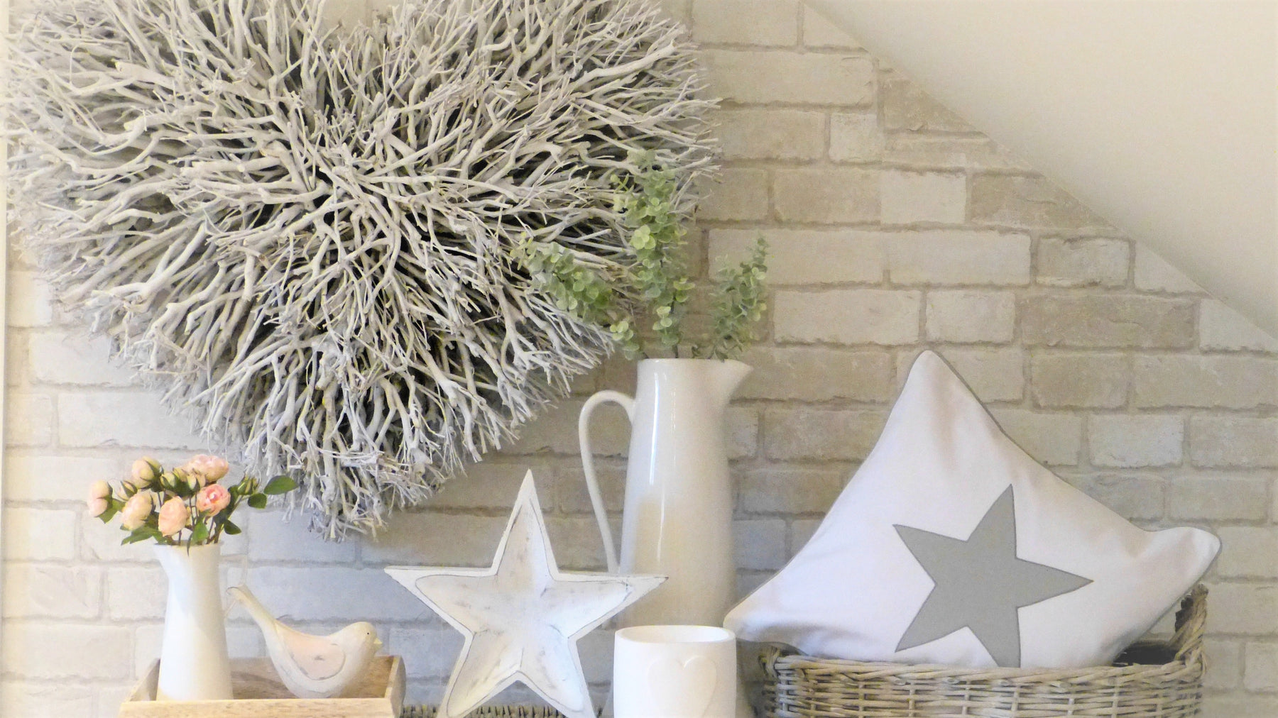 Large twig heart double layer twig heart star cushion star tray white jug with eucalyptus wooden bird and nordic tray