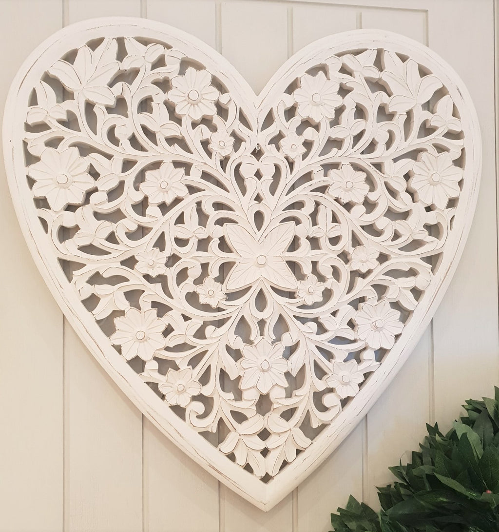 large white carved heart