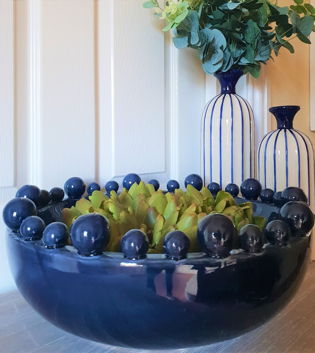 Navy Blue Ceramic Bowl with Balls