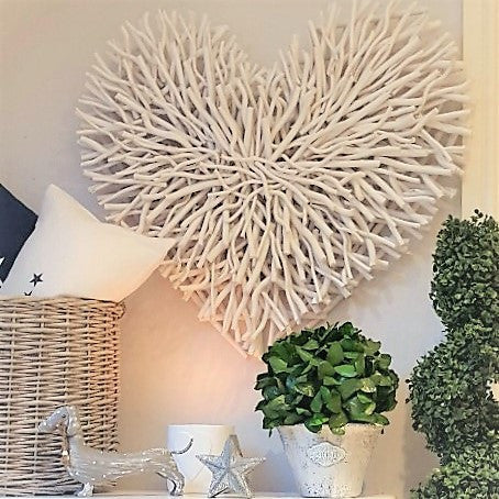 Large White Wood Chunky Twig Heart West Barn Interiors