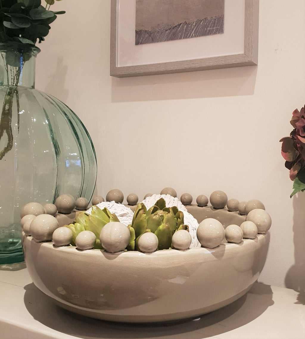 Grey Ceramic Bowl with Balls