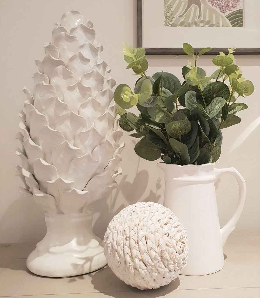 white ceramic pinecone decoration