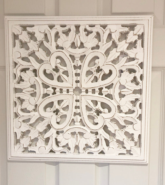 White Carved Panel