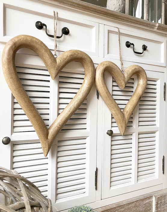 Natural Wooden Open Hearts