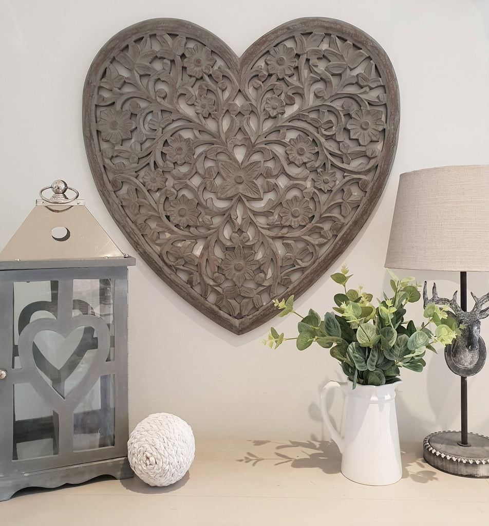 grey carved heart panal