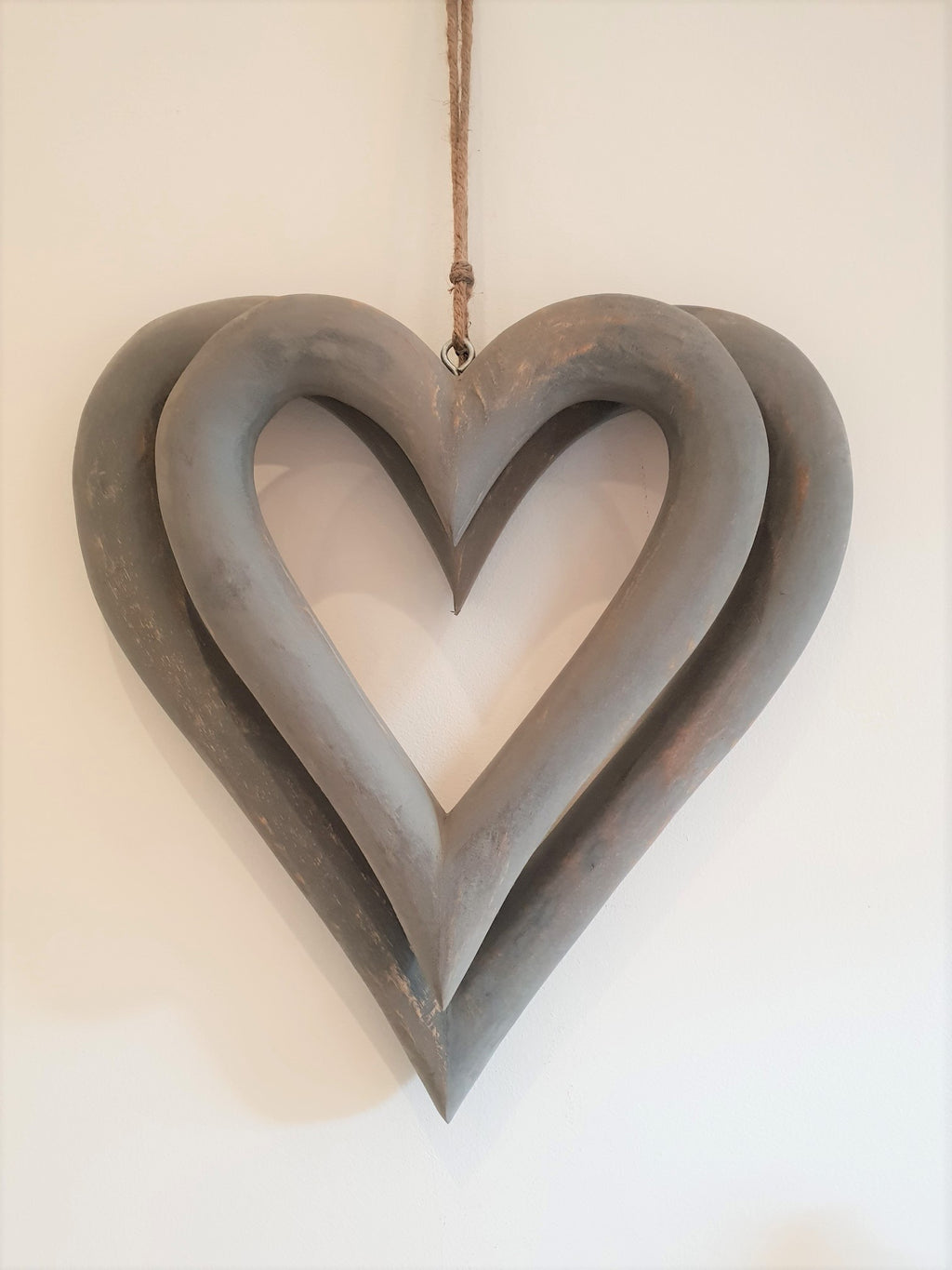 wooden open hearts grey or white