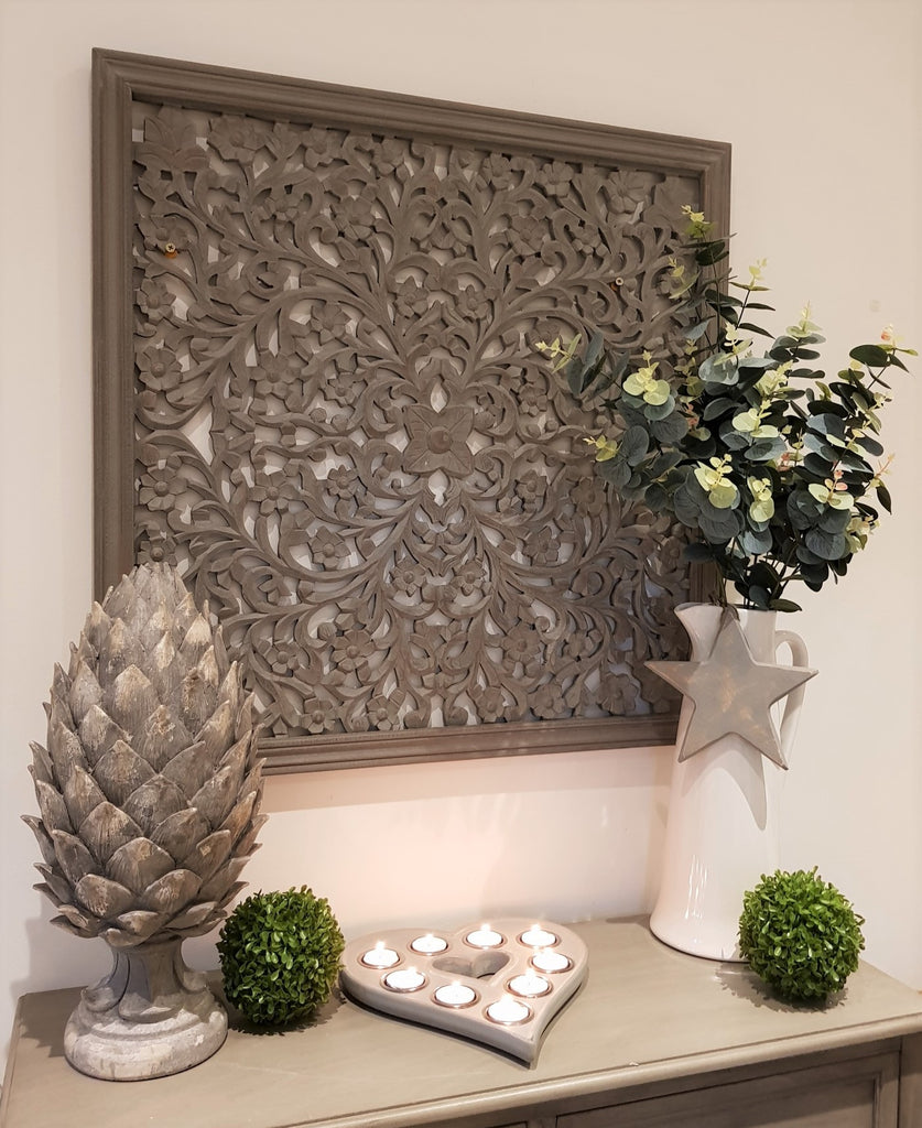grey wooden carved wall panel
