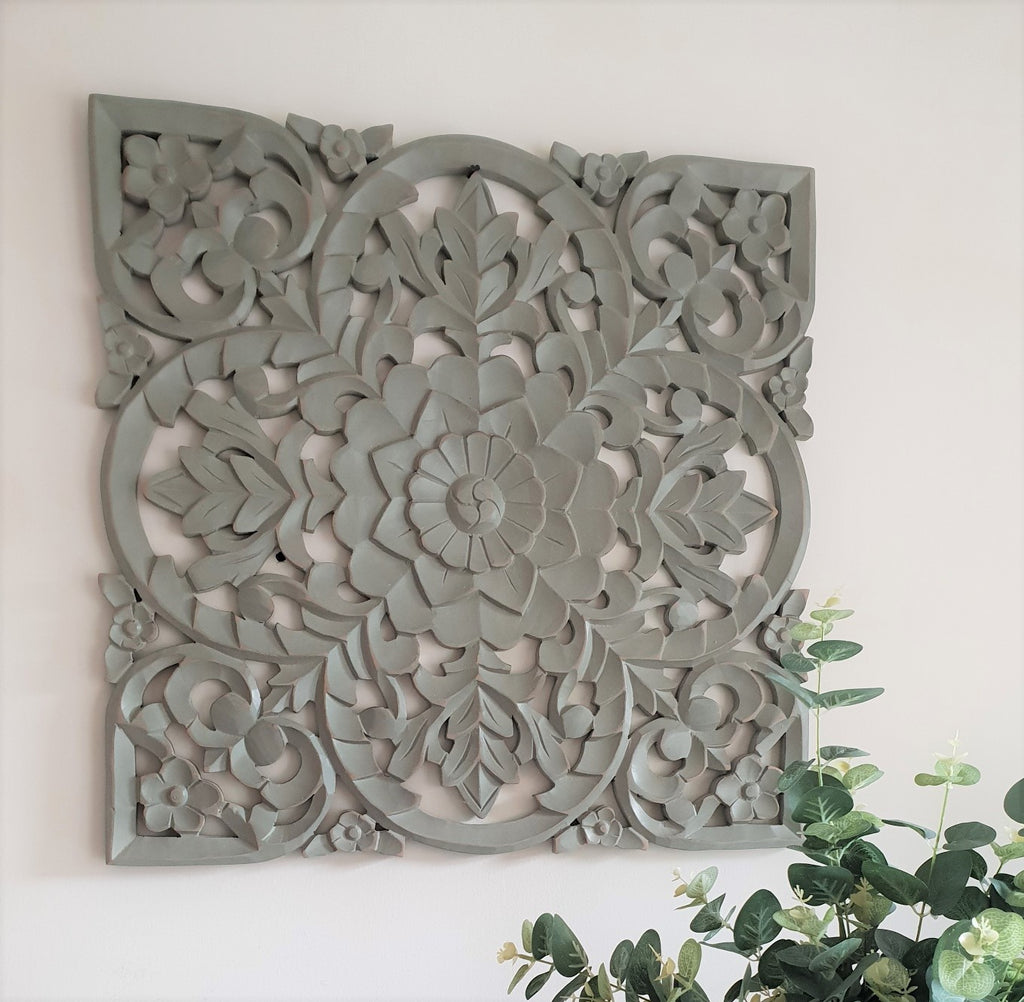 Large Carved Panel - Grey