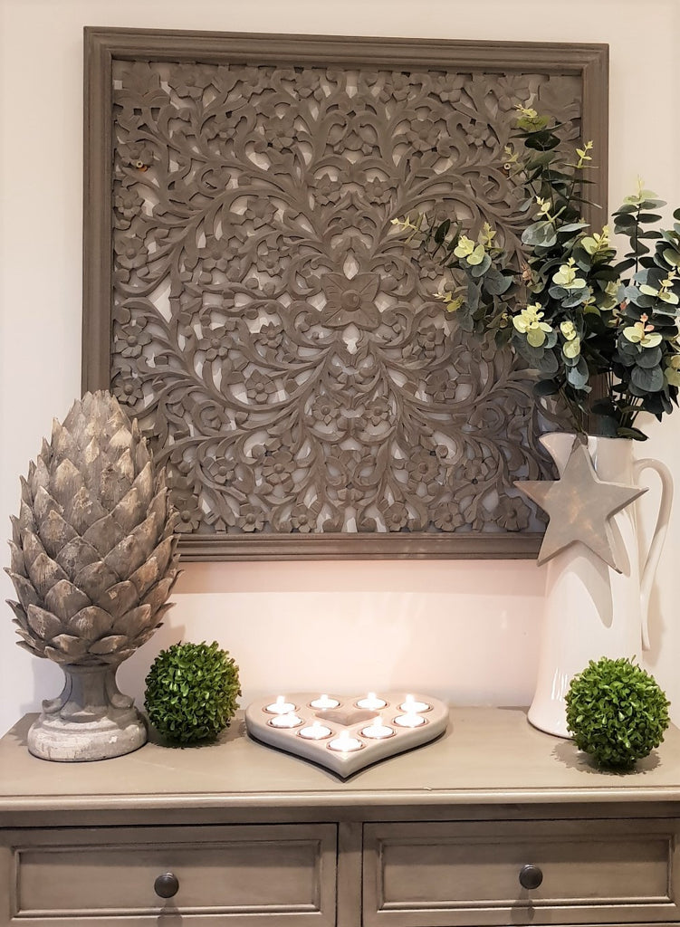 Large Grey Carved Wall Panel
