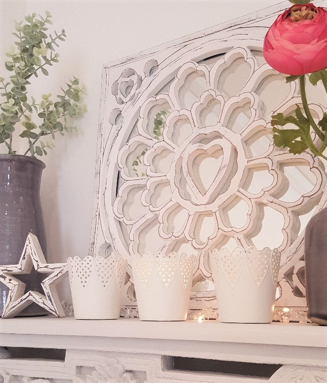 White Wooden Carved Heart Mirror