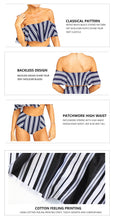 White And Black Striped High Waist Bikini