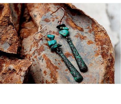 Small Green Stone Drop Earrings