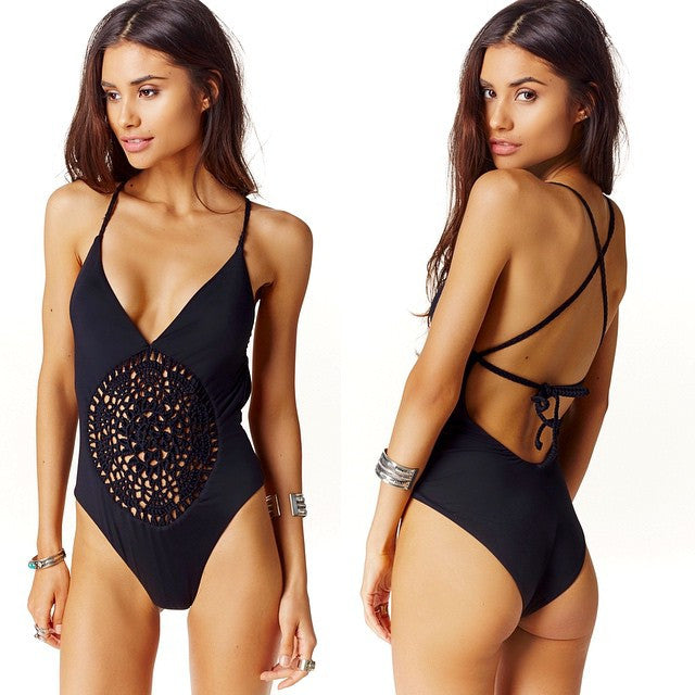 Crochet Triangle Deep V Open Back One Piece Swimsuit