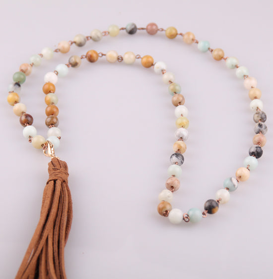Handmade Amazonite Stone Long Chain With Tassel Pendant Mala Necklace