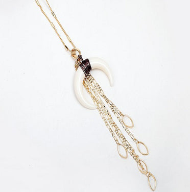 Crescent Horn Pendant Necklace Tassel Copper Wire