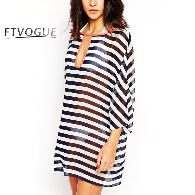Stripped Chiffon Cover Up