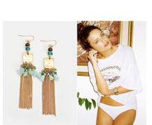 Golden Blue Stone Tassel Drop Dangle Earrings