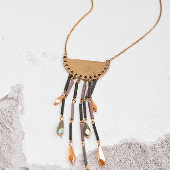 Geometric Shape Pendant Vintage Gold Tassel Acrylic Water Drop Necklace