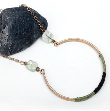Handmade Threaded Long Chain Pendant Necklace With Natural Stone