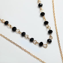 Natural Stone Black Crystal Multi Layer Necklace