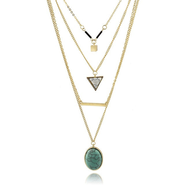Bohemian Triangle Layer Necklace