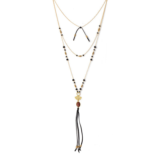 Wood Bead Natural Stone Suede Tassel Multilayer Necklace