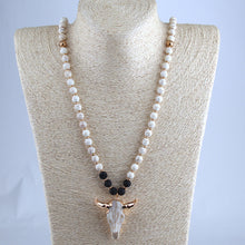 White & Lava Stone Horn Pendant Necklace