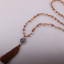 Handmade Natural Stone Knotted Rope Druzy Tassel Long Necklace