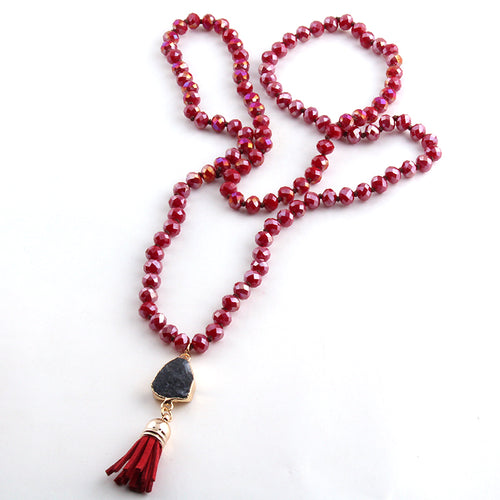 Attraction Boho Stone Tassel Necklace