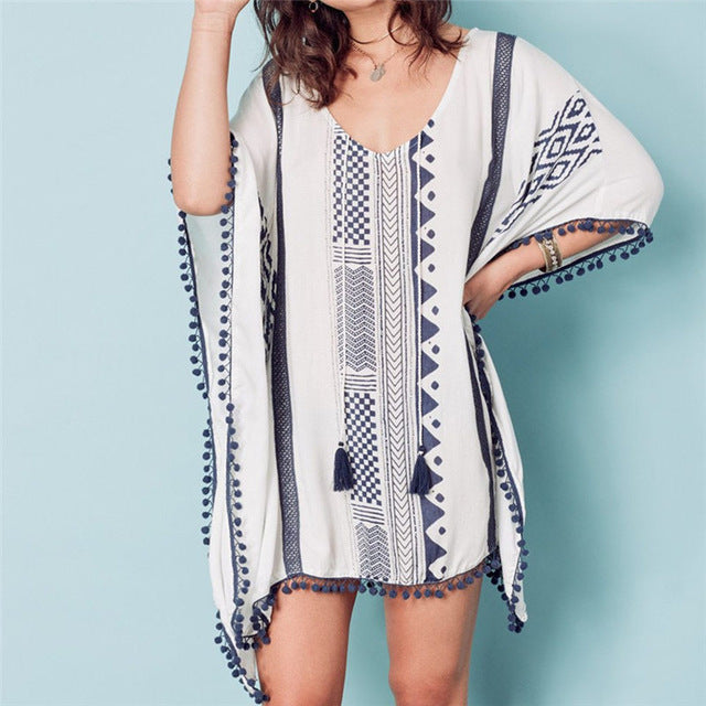 DreamGirl Beach Cover Up With Tassels