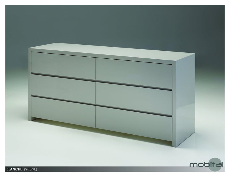 Blanche Double Dresser  (High Gloss Stone)