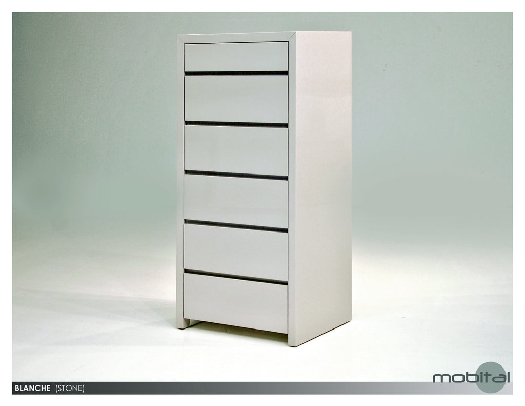 Blanche 6-dr. Chest  (High Gloss Stone)