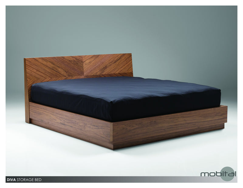 Diva Storage Bed King Wood Slats  (Walnut)