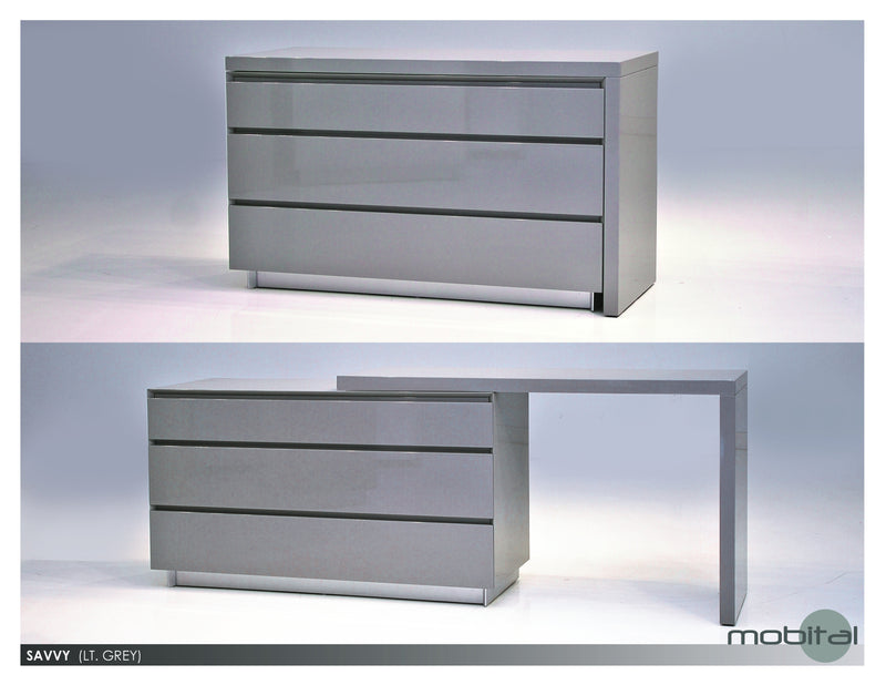 Savvy Extension Dresser  (High Gloss Light Grey)
