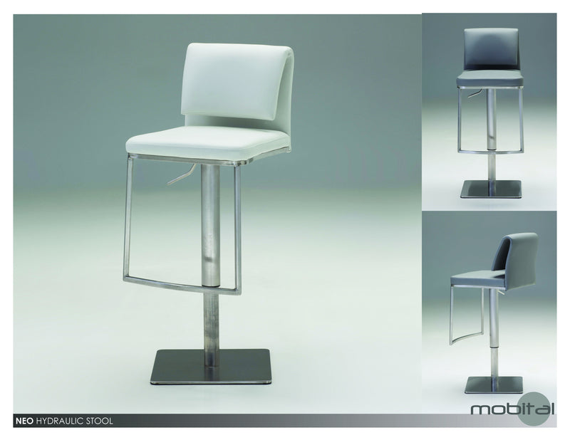 Neo Hydraulic Bar Stool  (White)