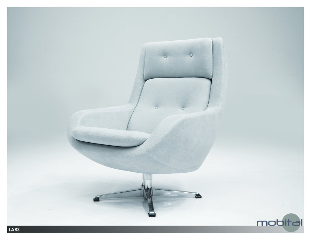 Lars Lounge Swivel Chair  (Light Grey)