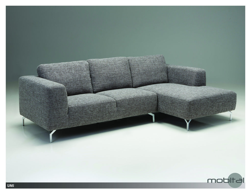 Umi Sectional Rsf Chaise  (Grey Tweed)