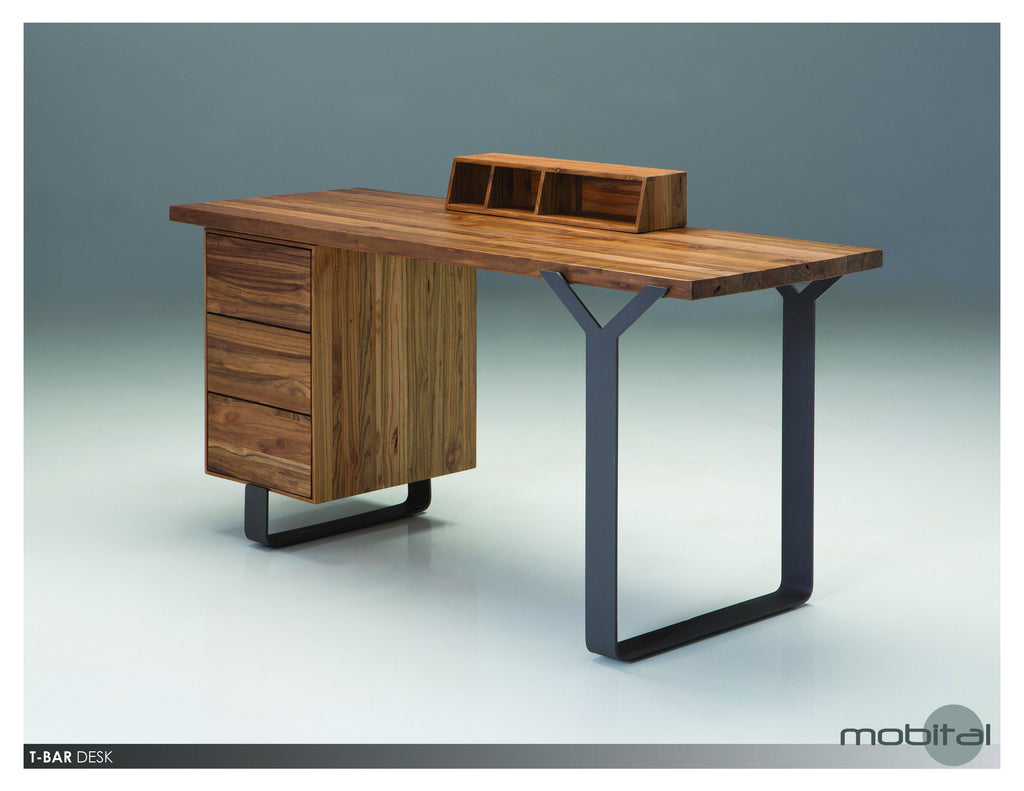 T-bar Desk  (Natural Wood)