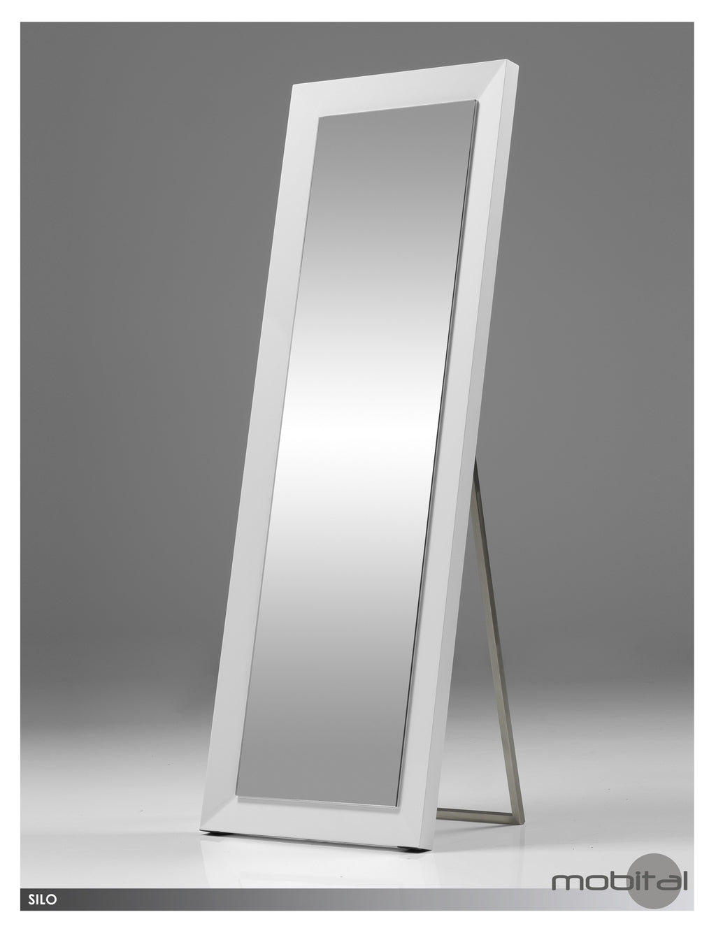 Silo Standing Mirror  (High Gloss White)