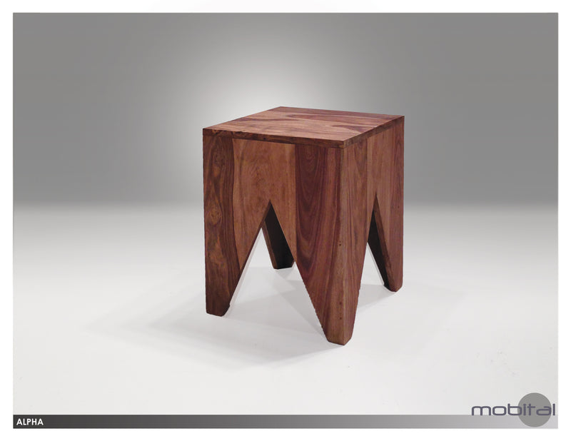 Alpha Stool/end Table  (Natural Wood)