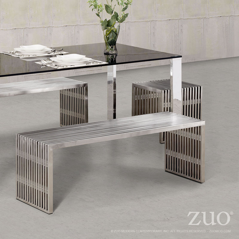 Novel Double Bench (Brushed Stainless Steel)