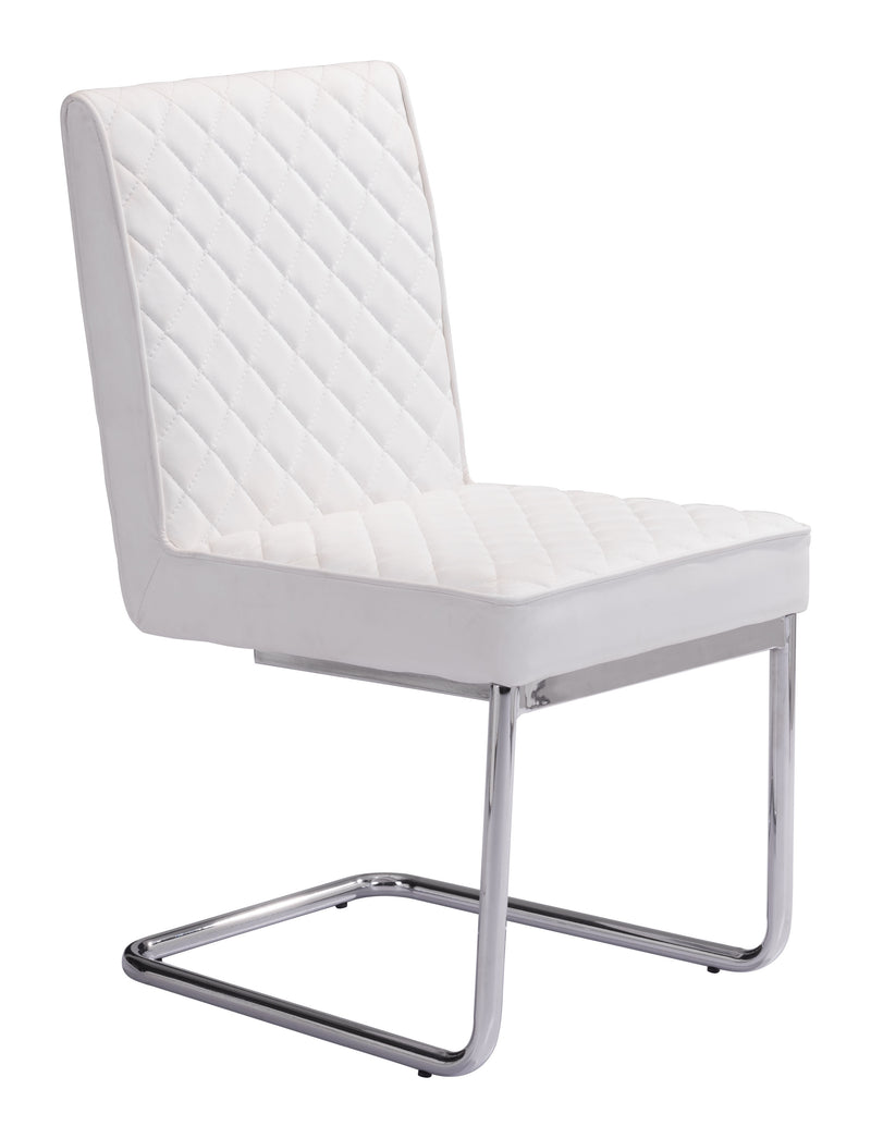 Quilt Armless Dining Chair (White)