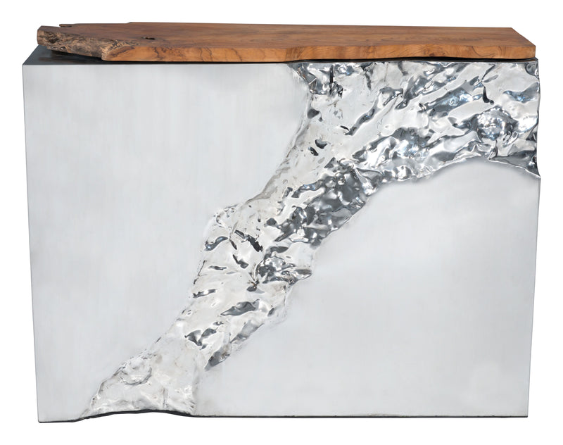 Luxe Console Table (Natural & Stainless Steel)
