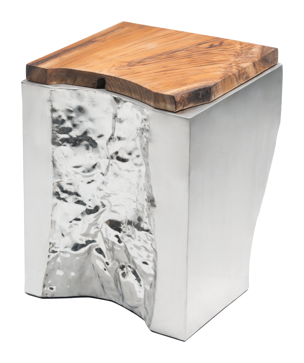 Luxe Side Table (Natural & Stainless Steel)