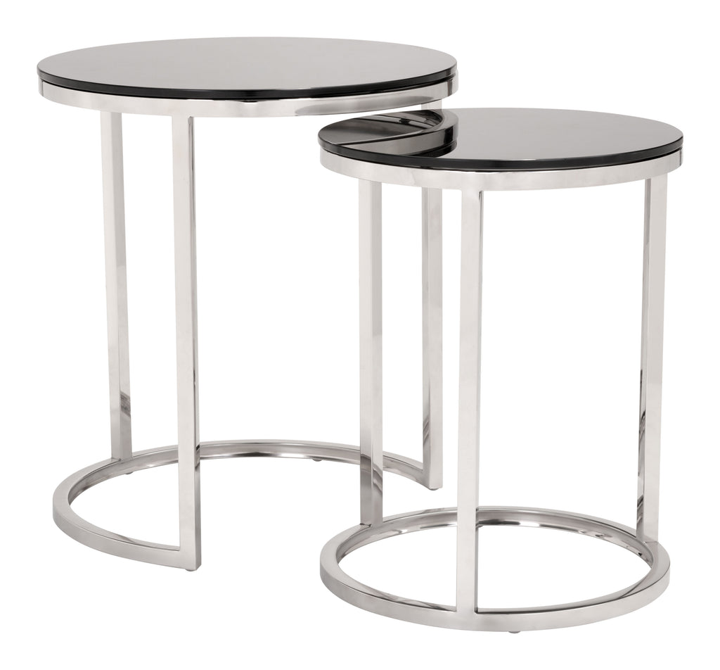 Rem Coffee Table Set (Black & Stainless)